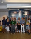 SOFO Shark Research and Education Team at the Museum in front of SOFO's new interactive shark exhibit.